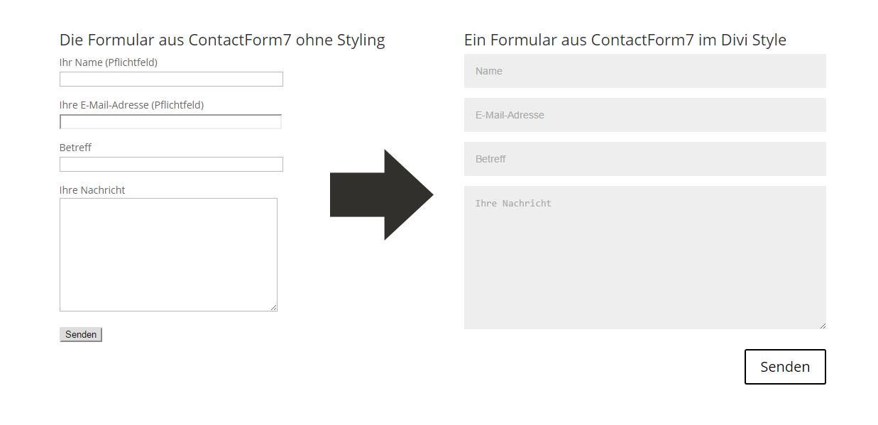 Divi CSS Styling Contact Form 7