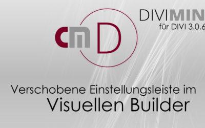 Verschobene Einstellungsleiste im visuellen Builder