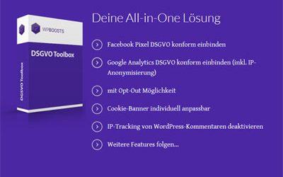 Nur bis zum 11.08.2019: Rabatt für DSGVO Toolbox (Cookie Banner für WordPress)