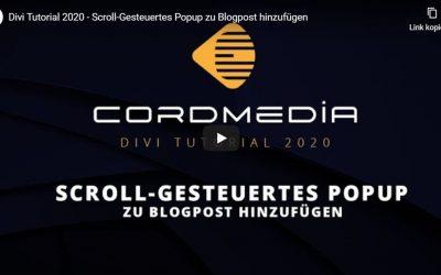 Divi Tutorial 2020 – Scroll-gesteuertes Popup zu Blogpost hinzufügen
